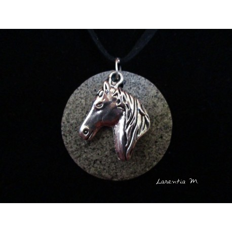 Necklace, pendant silver horse on round granite base