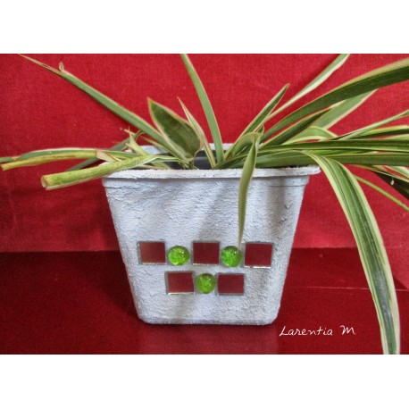 Plastic flowerpot covered with concrete texture and glass mosaic mirror