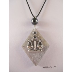 "Pendant necklace zodiac sign ""Libra"" with hematite pearl diamond on concrete pedestal decorated silver"
