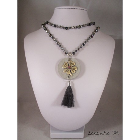 Necklace Bohemian crystal beads and polished gray, concrete round pendant with clover silver, gray pompon