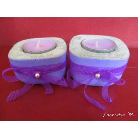 2 Candlesticks concrete square with purple organza