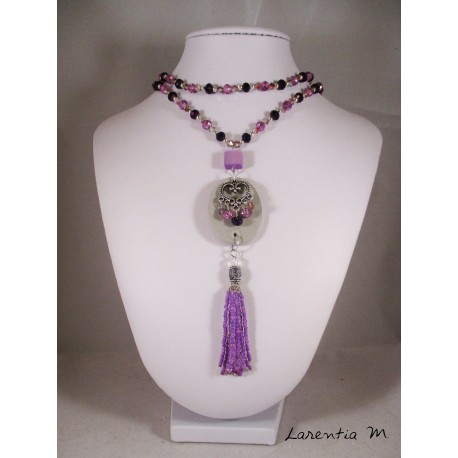 Bohemian crystal bead necklace-polished purple / gray, concrete oval pendant with fairy, gray tassel and purple shamballa