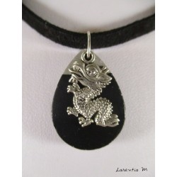 Necklace black water drop, silver dragon on black velvet necklace