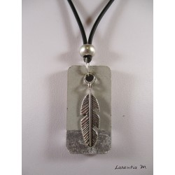 concrete collar ractangle silver dragon silver, gray crystal pearl gray suede cord