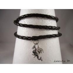 Bracelet homme cuir marron, dragon argenté, 3 tours