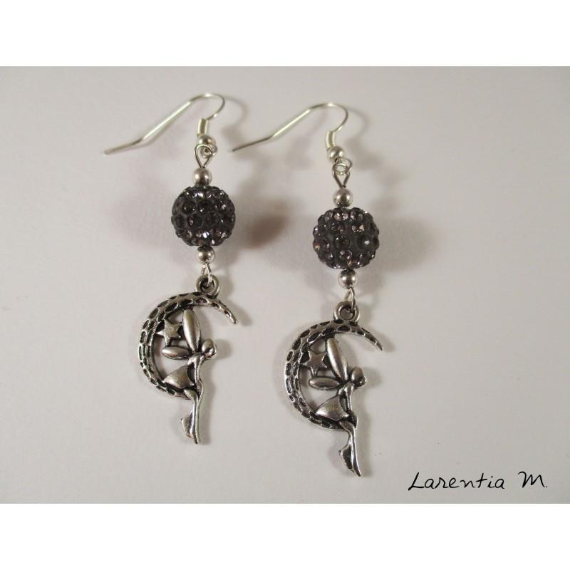 Silver fairy earrings, gray shamballa beads