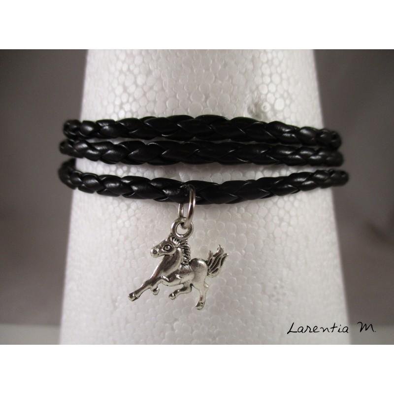 Bracelet homme cuir noir, cheval argenté, 3 tours