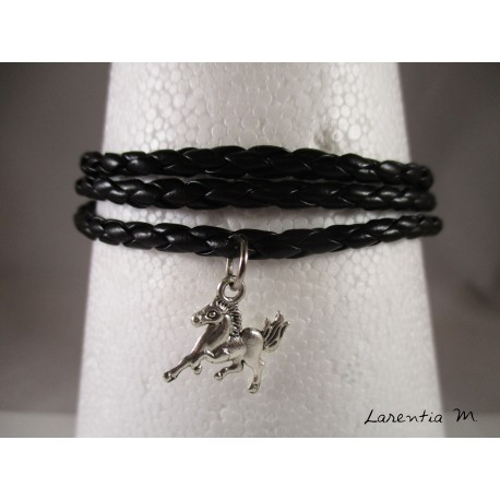 Leather bracelet black leather, silver horse