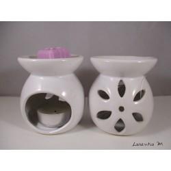 Brûle-parfum céramique - Fleur - Blanc