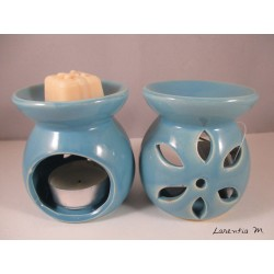Perfume burner in ceramic, blue, flower