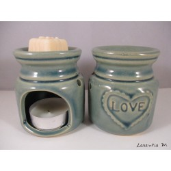 Perfume burner in ceramic, green, Love