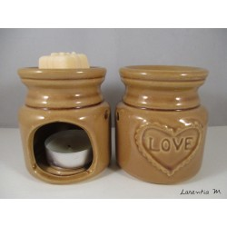 Perfume burner in ceramic, brown, Love