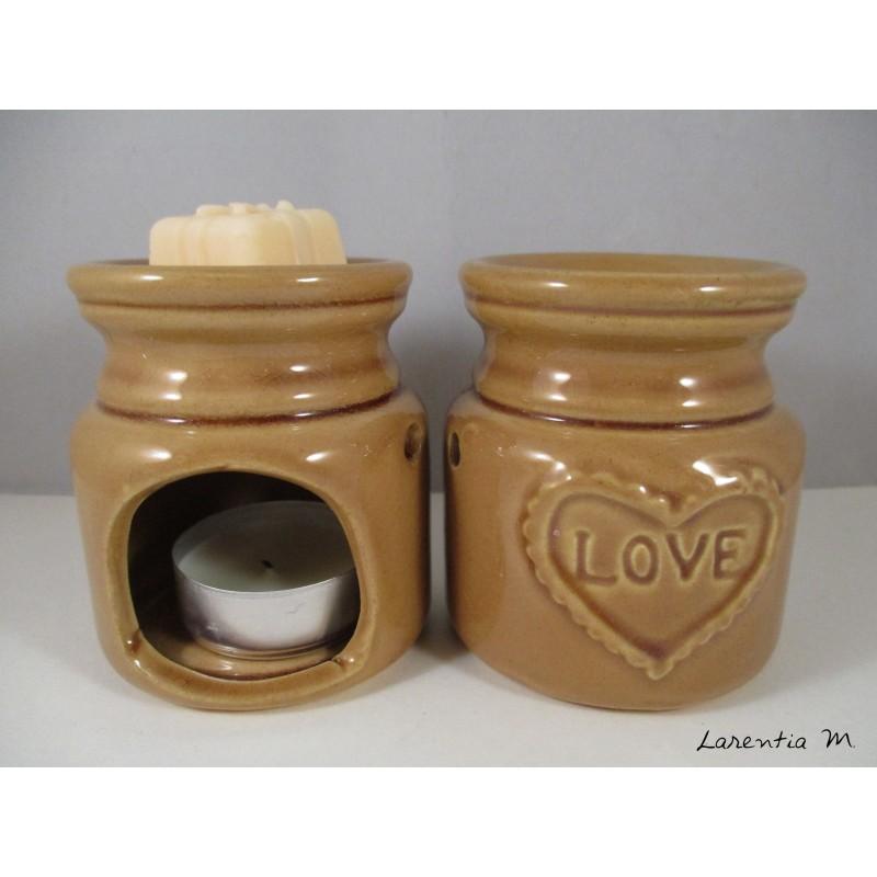 Brûle-parfum céramique - Love - Marron