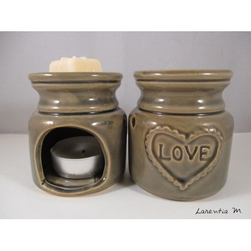 Perfume burner in ceramic, taupe, Love
