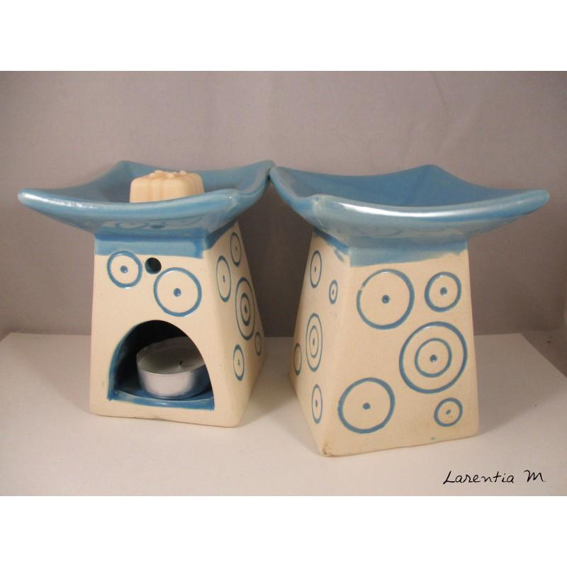 Brûle-parfum céramique - Pagode - Bleu