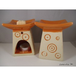 Brûle-parfum céramique - Pagode - Orange