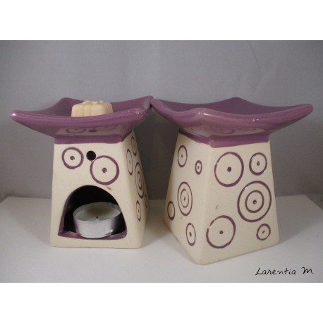 Perfume burner in ceramic, Pagoda, Purple