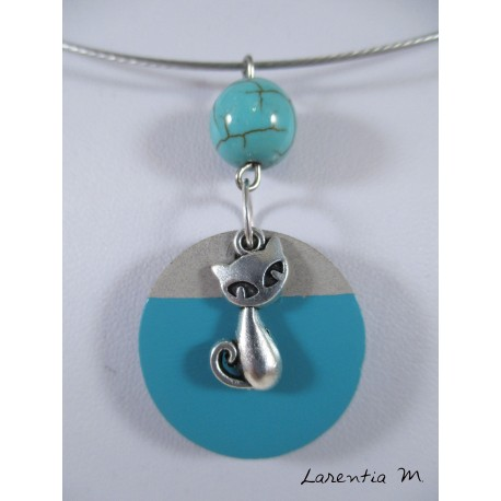 Round necklace gray / blue concrete, pearl turquoise, silver cat, rigid neck gray