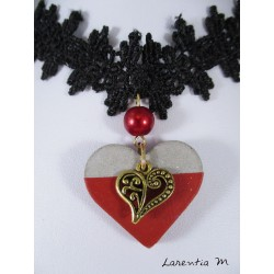 Necklace with black lace necklace, heart red concrete with gold heart pendant and red pearl