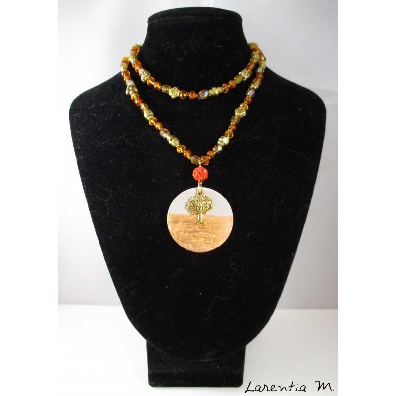 Necklace crystal beads Bohemia and orange glass, metal beads, round concrete pendant with golden life tree and orange shamballa