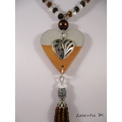 Necklace crystal beads Bohemian brown tones white, brown heart pendant brown, silver filigree heart, pompon brown beads