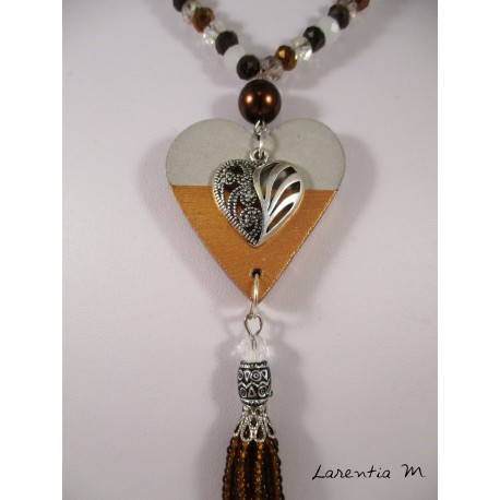 Necklace Bohemian crystal beads and seed beads, pendants concrete heart on golden pearl shamballa brown and golden tree of life.
