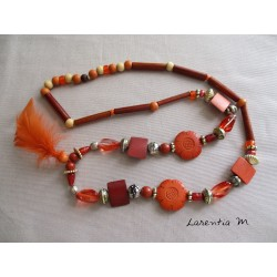 Sautoir 50 cm perles bois, cristal, nacre, métal