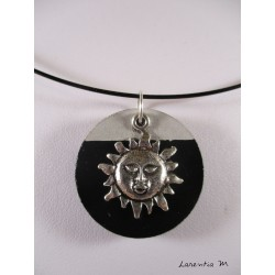"Pendant Necklace ""Cat"" with black pearl on circle concrete pad painted black"