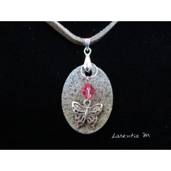 Oval granite necklace, silver butterfly on pink Swarovski crystal, gray suede cord