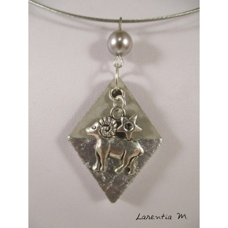 Aries zodiac pendant necklace on diamond silver and pearl gray wax, silver necklace