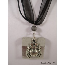Black crew necklace with square black concrete, silver cross and black square pearl