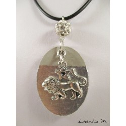 "Pendant necklace zodiac sign ""Capricorn"" with white shamballa pearl on oval concrete pedestal decorated silver"