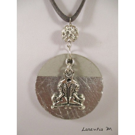 "Necklace, pendant ""Tree of Life"" with black hematite bead on concrete pad decorated silver"