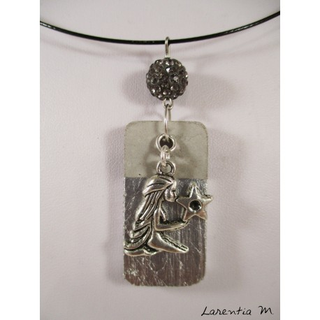 """Vierge"" zodiac pendant necklace on silver rectangle and gray shamballa bead, black necklace"