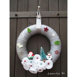 Polystyrene Christmas wreath covered with gray wool, felt roses, fir tree and characters, metal flake