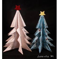 2 Christmas trees in scrapbooking paper, folding origami 14 and 12 cm with felt star
