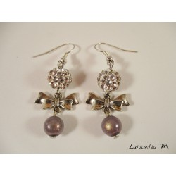 Silver fairy earrings, gray shamballa beads