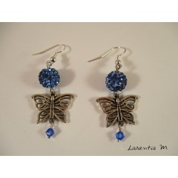 Silver butterfly earrings, blue shamballa beads, blue swarovski beads
