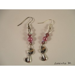Silver cats, waxed pearls and pink Swarovski earrings