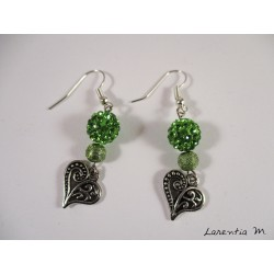Silver Hearts Earrings, Green Shamballa Beads, Green Metal Beads