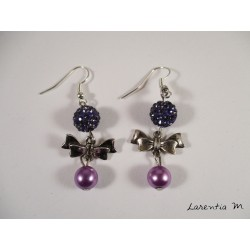 Silver bow tie earrings, purple shamballa beads, pink magic pearls