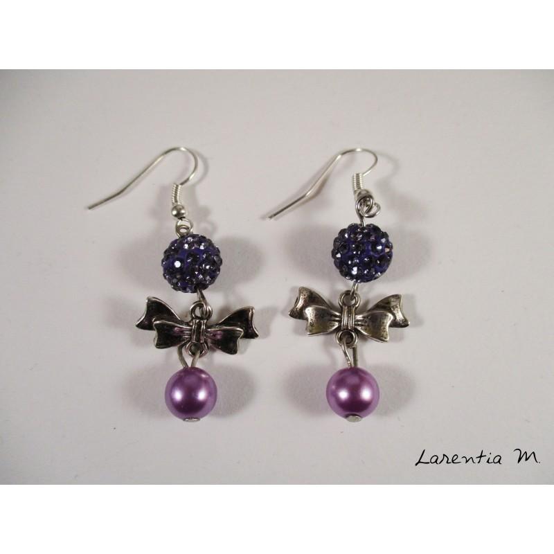 Silver bow tie earrings, purple shamballa beads, pink magic pearls