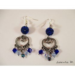 Silver Heart Connector Earrings, Blue Shamballa Beads and Light Blue / Dark Swarovski Beads