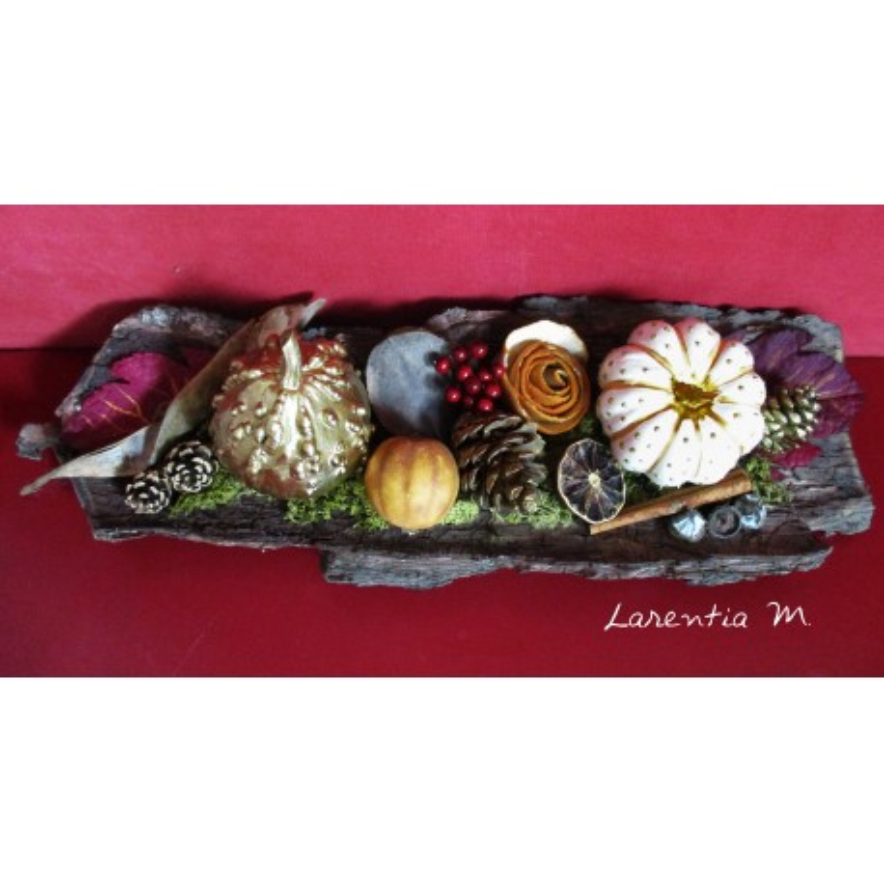 Composition d'automne dans une écorce d'arbre de 45x14cm, citrouilles peintes, mousse des bois...