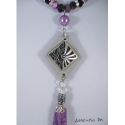 Bohemian purple crystal beads necklace, rhombic concrete pendant, silver chiseled rhombus, pink beaded tassel