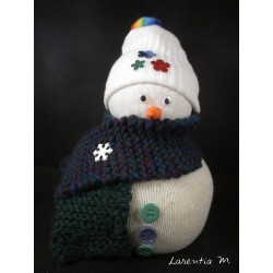 Snowman in sock filled with rice, hand knitted scarf, buttons, mobile eyes 16cm x 10cm