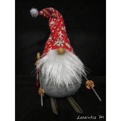 Lutin barbu à ski (Gnome en chaussette avec bonnet 20x10cm)