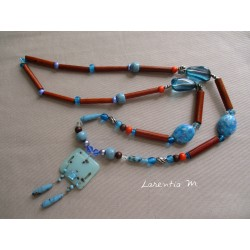 Long necklace 50 cm turquoise/orange/brown with pendant