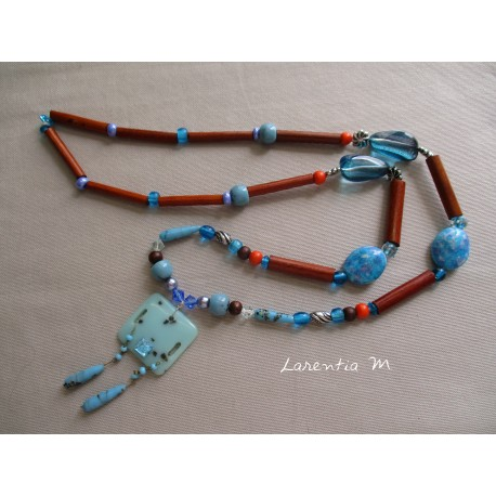 Long necklace 50 cm turquoise/orange/brown