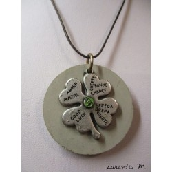 Silver clover concrete necklace / Swarovski green crystal, brown waxed cord